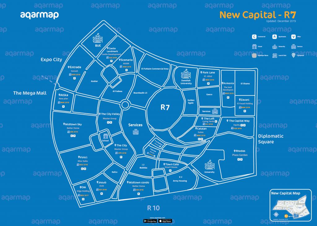 خريطة العاصمة الإدارية الجديدة الحي السكني السابع R7