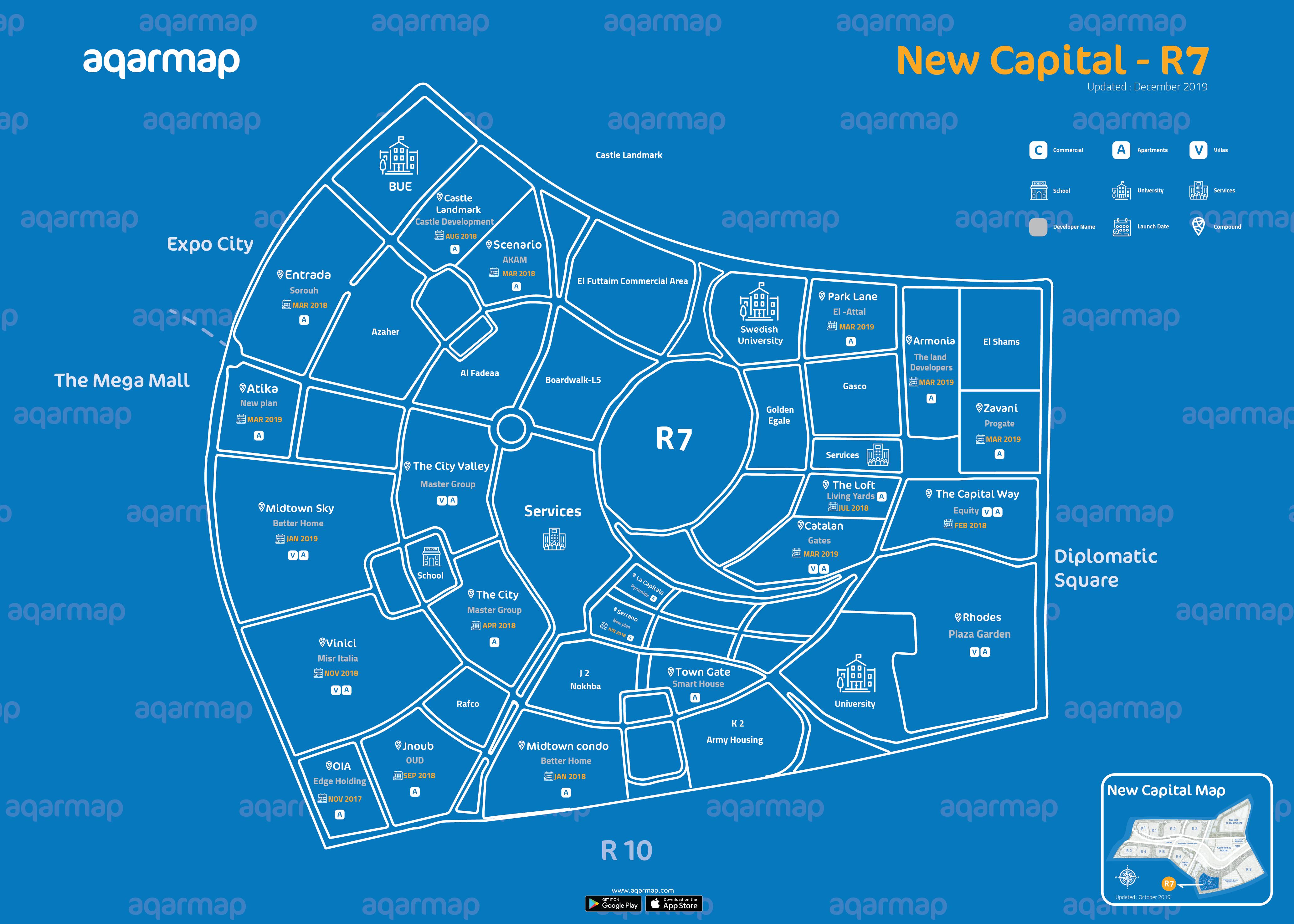 خريطة العاصمة الإدارية الجديدة R7 الحي السكني السابع مدونة عقارماب
